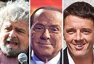 Grillo, Berlusconi e Renzi